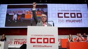 Ignacio Fernández Toxo, se dirige a los delegados del 11º congreso del sindicato.