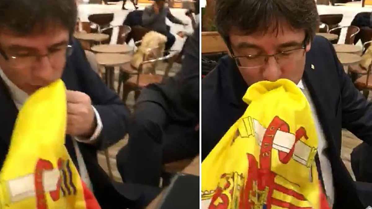 Al vídeo es veu Víctor Moreno anunciant que li farem besar la bandera espanyola amb dos collons.