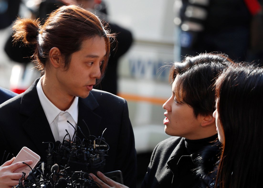 Seoul (Korea, Republic Of).- (FILE) - South Korean K-pop star Jung Joon-young (L) speaks to the press as he arrives at the Seoul Police Department in Seoul, South Korea, 14 March 2019 (reissued 29 November 2019). K-pop stars Jung Joon-young and Choi Jong-hoon were sentenced on 29 November to six and five years in jail respectively on charges of gang raping a drunk women. Jung Joon-young was also charged with filming the sexual assaults and distributing the footage on a group chat. (Corea del Sur, Seúl) EFE/EPA/JEON HEON-KYUN