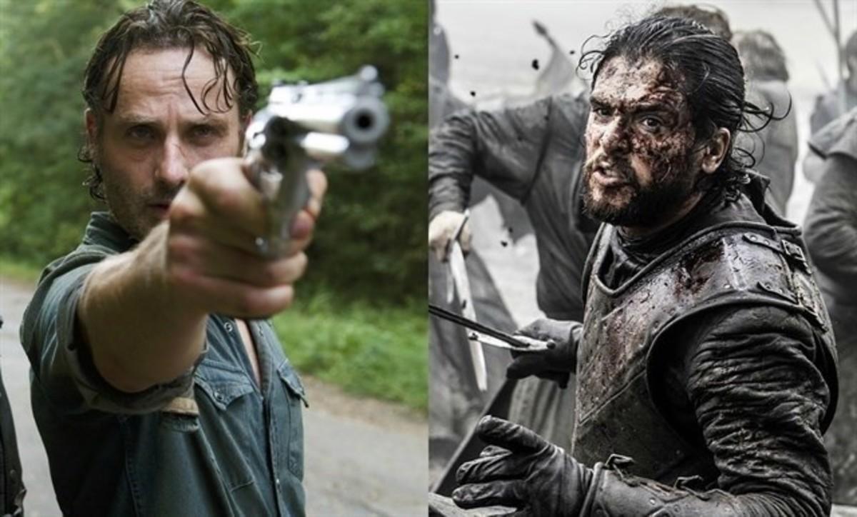 Las estrellas de 'The Walking Dead', Andrew Lincoln, y de 'Juego de tronos', Kit Harington, alias 'Jon Nieve', a la derecha.