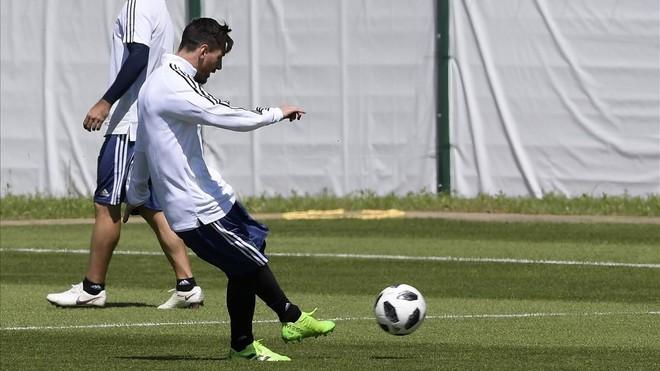 Leo Messi en un entrenamiento de la selección argentina.