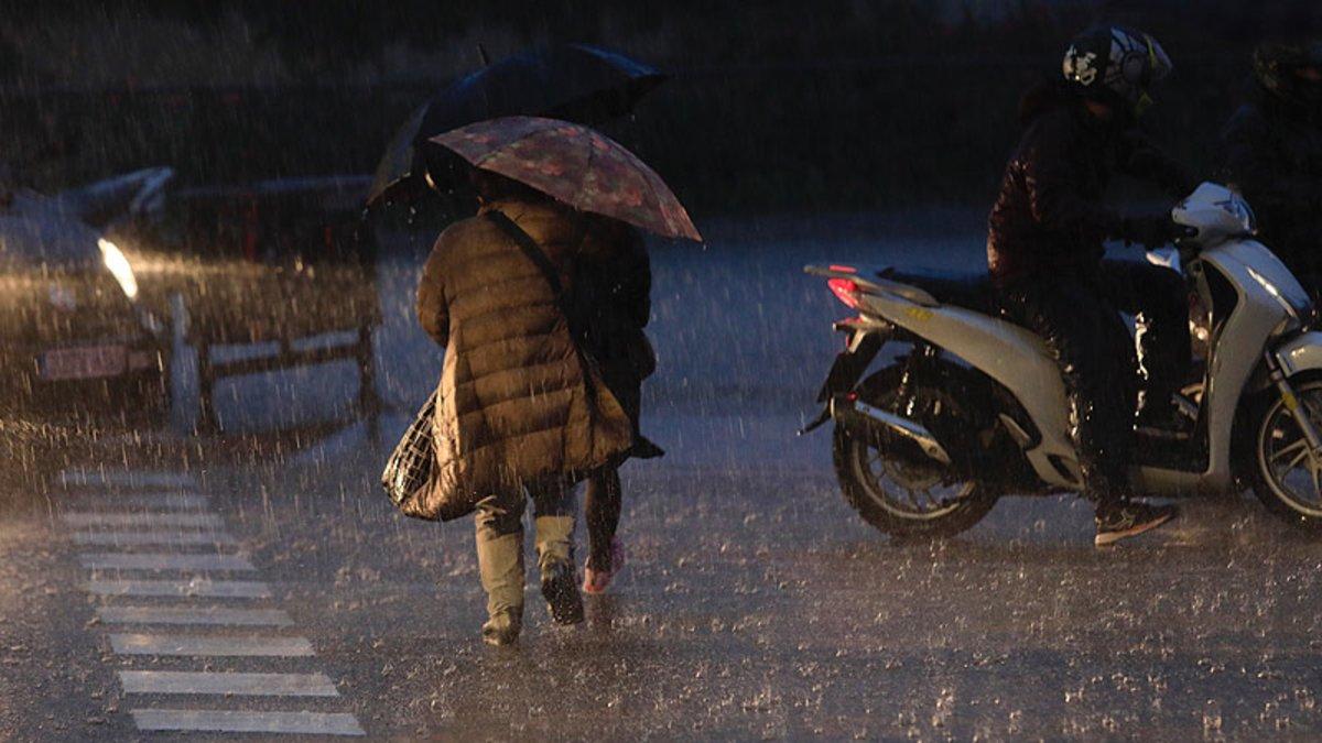 Lluvia en Barcelona, este jueves.