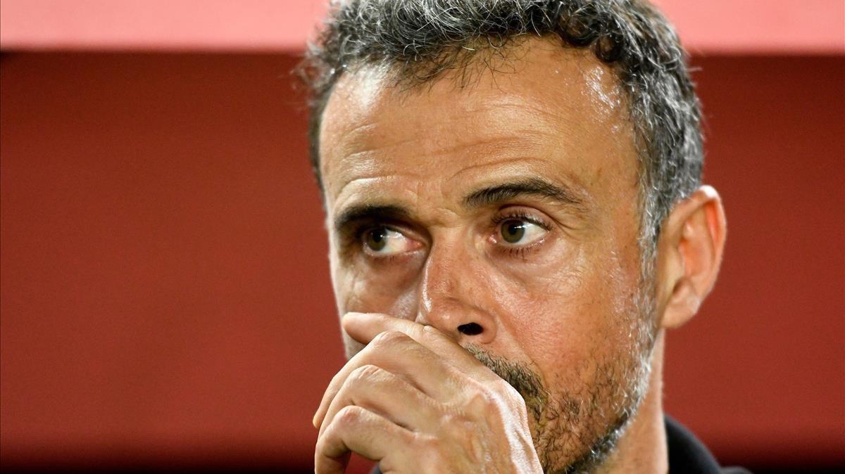 Luis Enrique, durante el partido ante Croacia en Elche.