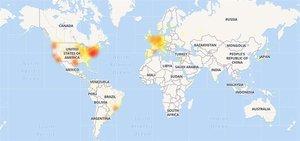 Mapa que muestra la caída del servicio del Calendario de Google de este martes.
