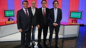 Laporta,Pep Riera (moderador), Benedito y Freixa, en el plató de El PuntavuiTV.