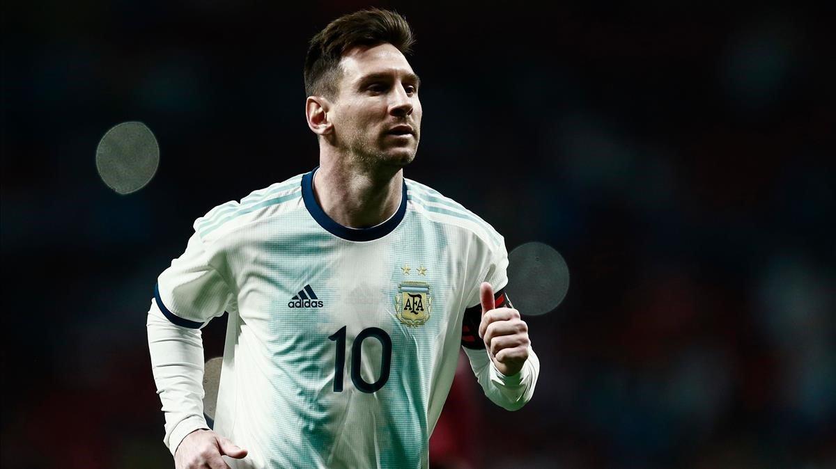 Messi, en el amistoso que perdió Argentina en el Wanda ante Venezuela.