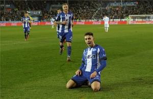 Munir el Haddadi celebrando uno de sus goles con el Alaves en esta temporada.