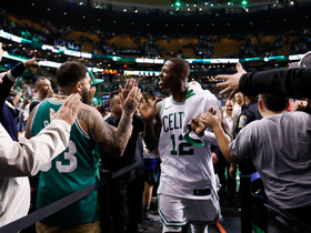 May 9, 2018; Boston, MA, USA; Boston Celtics guard Terry Rozier (12) celebrates with fans after defeating the Philadelphia 76ers in game five of the second round of the 2018 NBA Playoffs at the TD Garden. Mandatory Credit: Greg M. Cooper-USA TODAY Sports