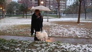 Una mujer pasea a su perro en el barrio barcelonés del Guinardó.