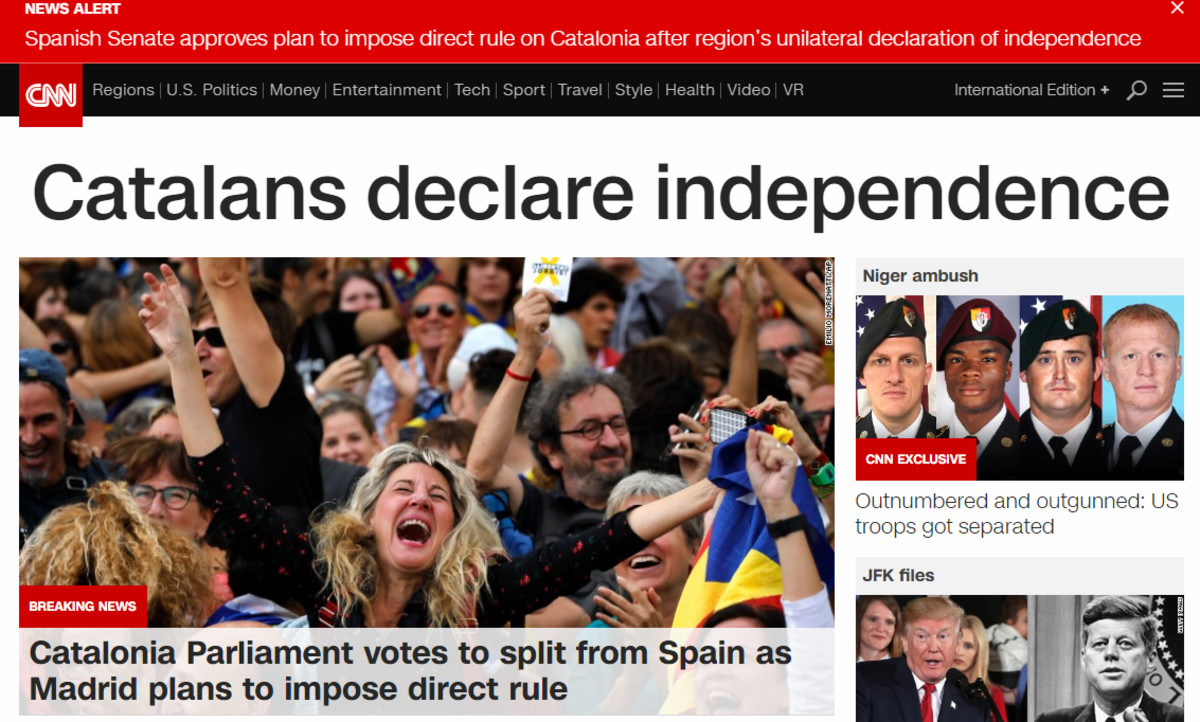 Noticia de apertura de la edición digital de la CNN.