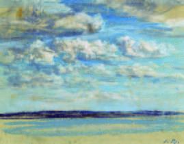'Nouages blancs, ciel bleu', c. 1859. Eugène Boudin. Pastel sobre papel. 14,8 x 21 cm. Musée Eugène Boudin, Honfleur / H. Brawne.