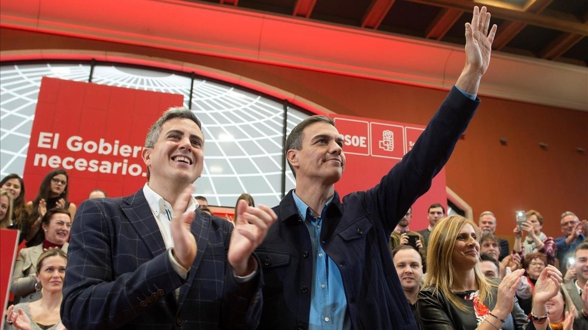 El presidente del Gobierno, Pedro Sánchez, en un mitin en Santander