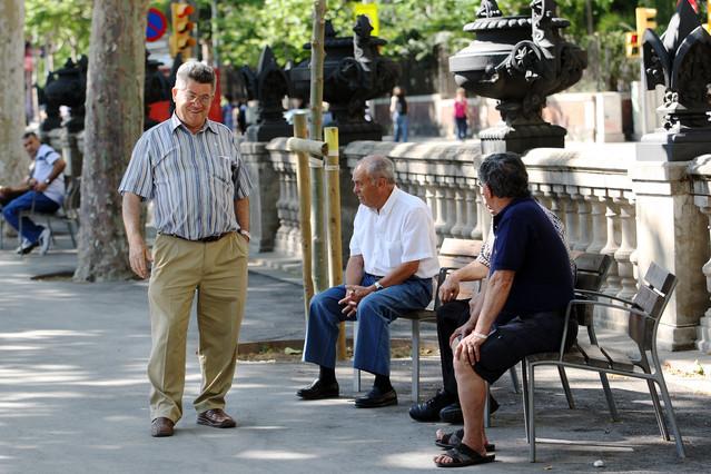 Un grupo de pensionistas, en Barcelona