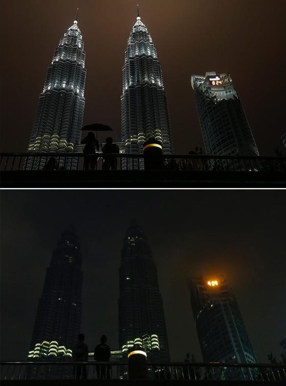 Las torres Petronas de Kuala Lumpur,antes y después del apagón de La Hora del Planeta.