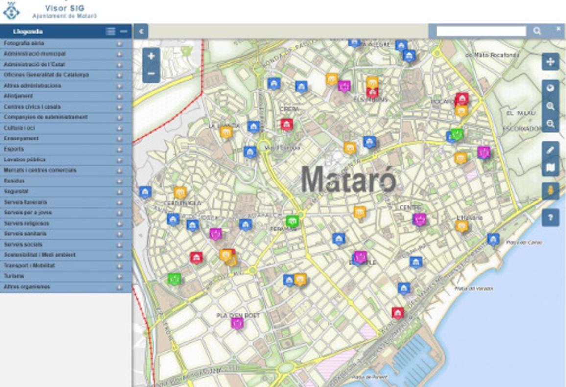Plano Mataróde la página web del Ayuntamiento de la ciudad.