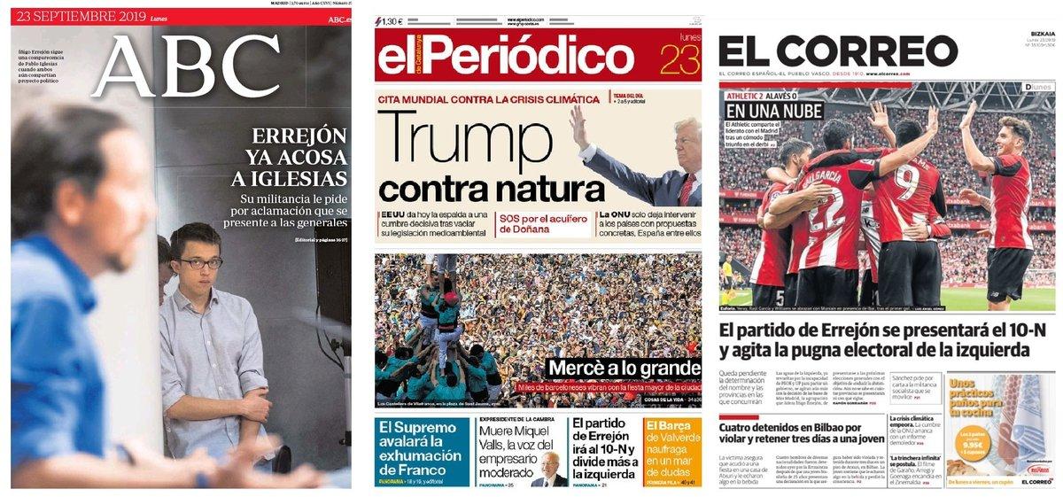Prensa de hoy: Las portadas de los periódicos del lunes 23 de septiembre del 2019