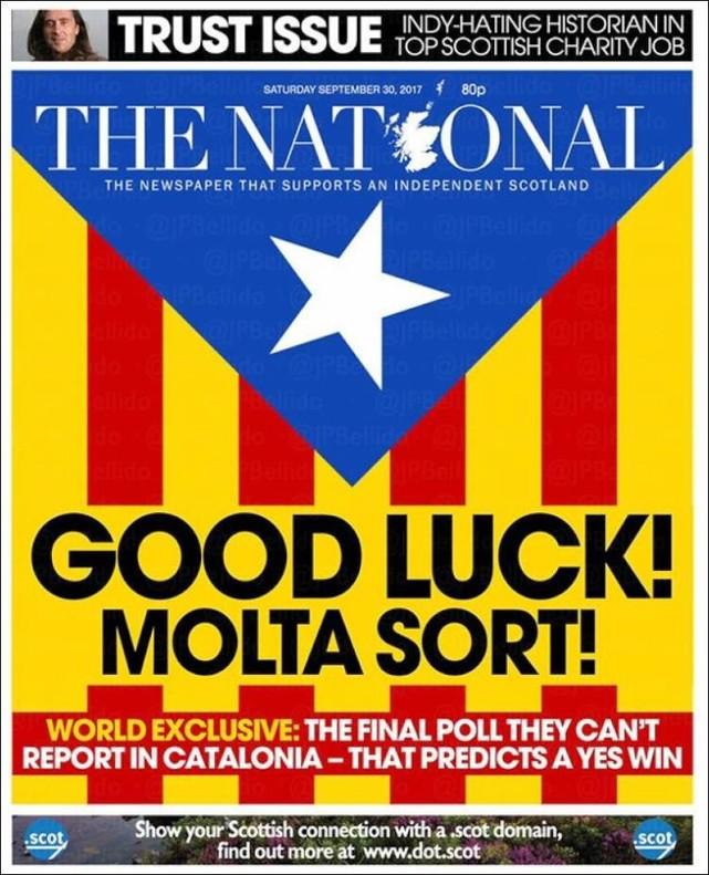 La portada del escocés 'The National' de este sábado.