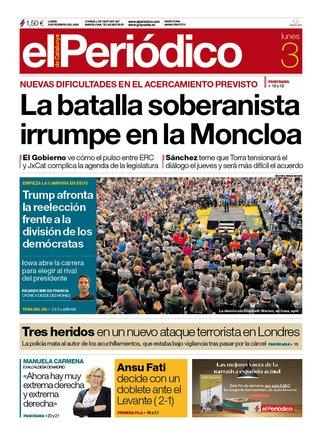 La portada de EL PERIÓDICO del 3 de febrero del 2020.