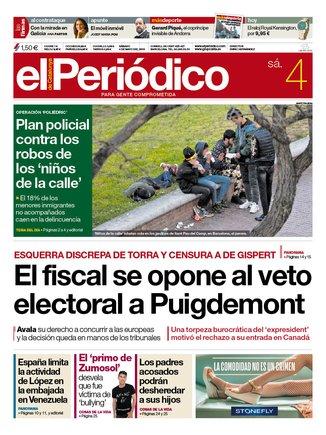 La portada de EL PERIÓDICO del 4 de mayo del 2019
