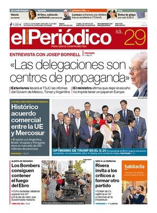 La portada de EL PERIÓDICO del sábado 29 de junio del 2019.