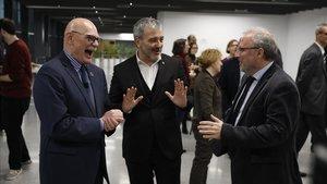 Presentación del MWC del 2020 conJohn Hoffmann,Jaume Collboni yConstanti Serrallonga, director de fira de Barcelona