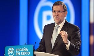 El presidente y candidato a la reelección, Mariano Rajoy, el martes en un mitin en Santander.