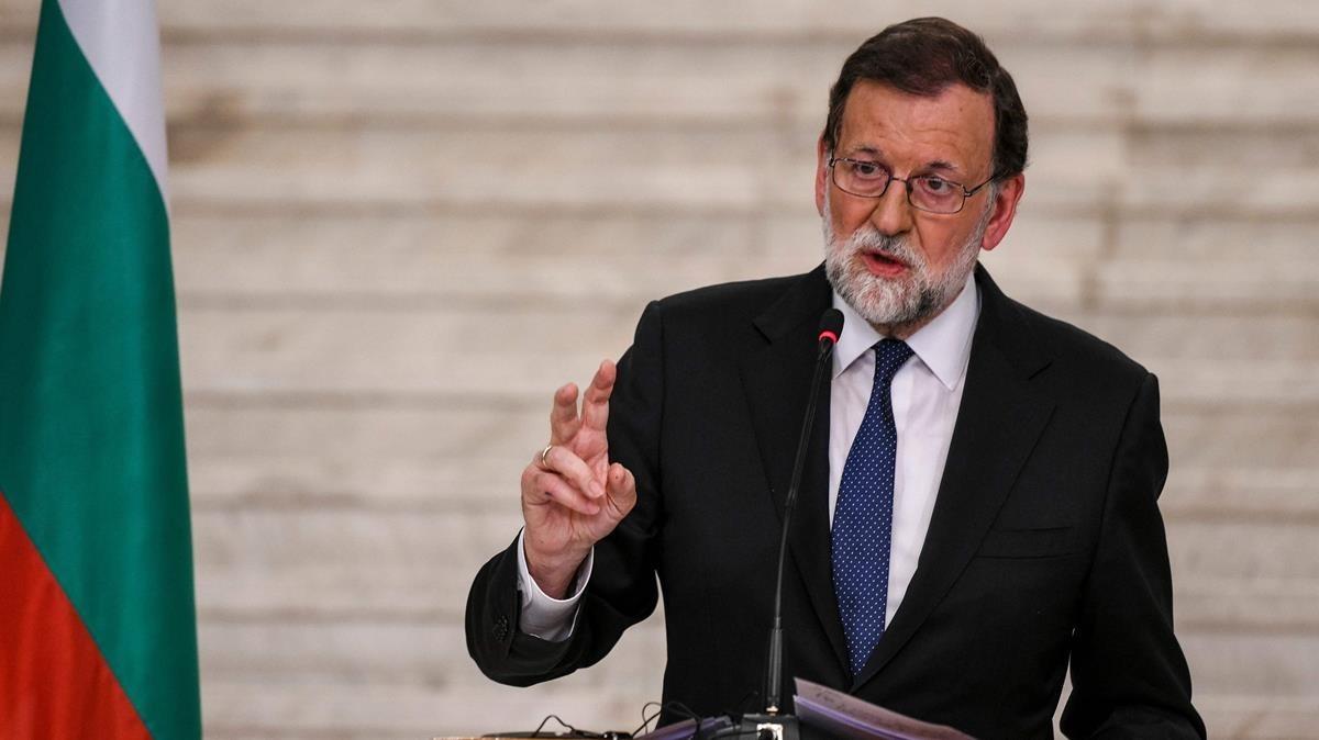El presidente del Gobierno, Mariano Rajoy, en la rueda de prensa que ha ofrecido este martes desde Sofía, en Bulgaria.