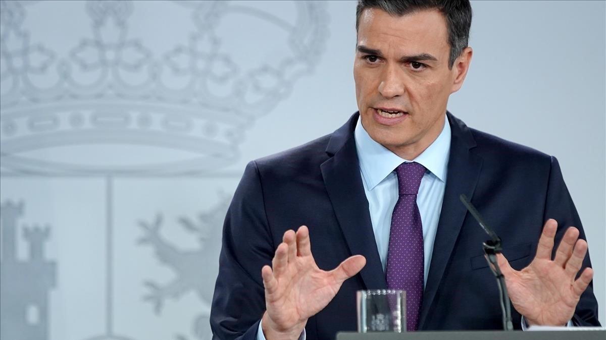 El presidente del Gobierno, Pedro Sánchez, en su comparecencia de balance del año.
