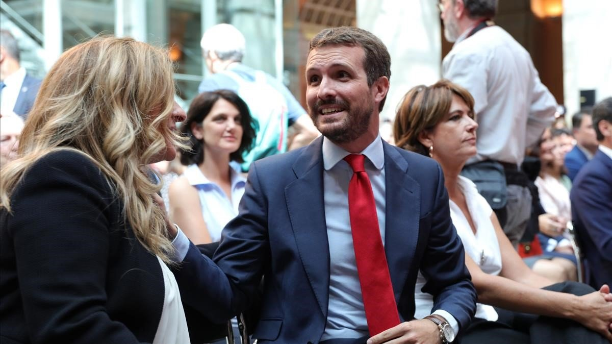El presidente del PP, Pablo Casado, durante el acto de toma de posesión de Isabel Díaz Ayuso al frente del Gobierno de la Comunidad de Madrid.