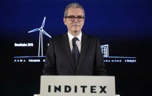 El presidente de Inditex, Pablo Isla, durante la presentación de los resultados del 2015 en Arteixo.