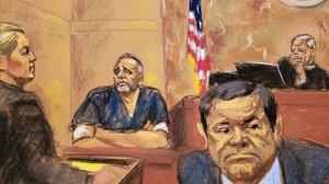 Retrato del juicio al narcotraficante El Chapo, en Nueva York.