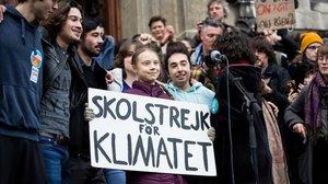 La activista Greta Thunberg, en un acto de protesta por la crisis climática en Lausana este viernes, antes de participar en la cumbre de Davos.