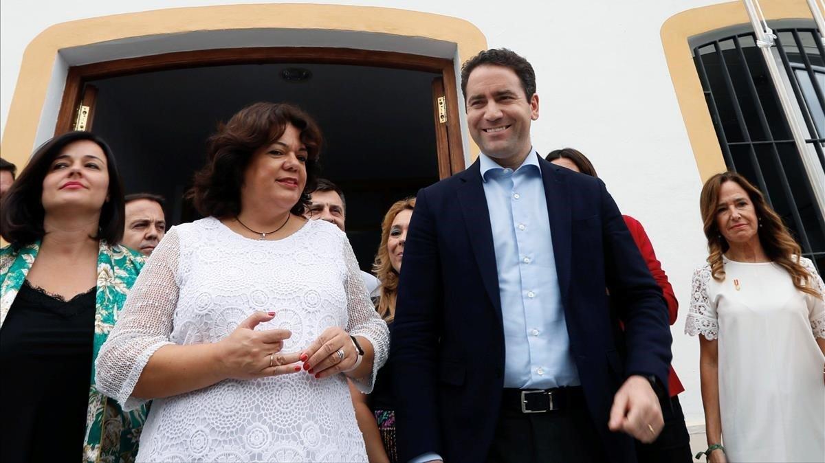 El secretario general del PP, Teodoro García Egea, en Huévar del Aljarafe (Sevilla)
