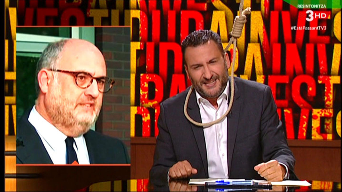 Toni Soler, desesperado, a punto de ahorcarse en directo (Està passant, TV-3).