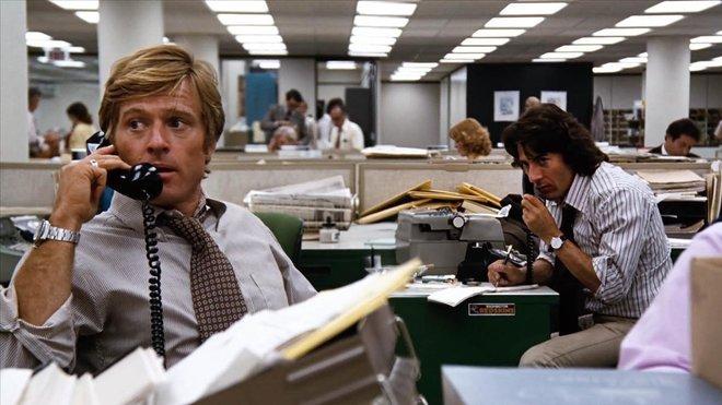 Robert Redford y Dustin Hoffman en Todos lo shombres del presidente