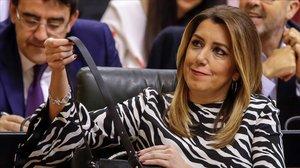 Susana Díaz, este miércoles en el Parlamento de Andalucía.