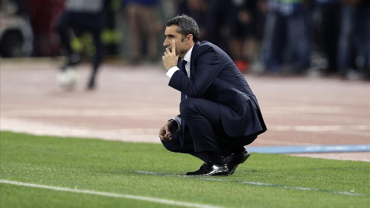 Valverde, durante el Roma-Barça de la Champions.
