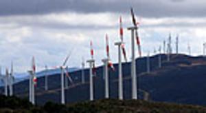 Vista del gigantesco parque eólico de Tánger, un proyecto con sello español (Gamesa).