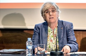 La 'consellera' de Ensenyament, Clara Ponsatí, en la presentación del nuevo curso escolar, este viernes.