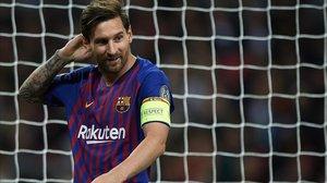 Leo Messi, durante el partido en Wembley ante el Tottenham.
