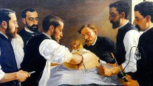El doctor Fargas, pionero de la cirugía ovárica, en un cuadro de J. Sala fechado en 1885.