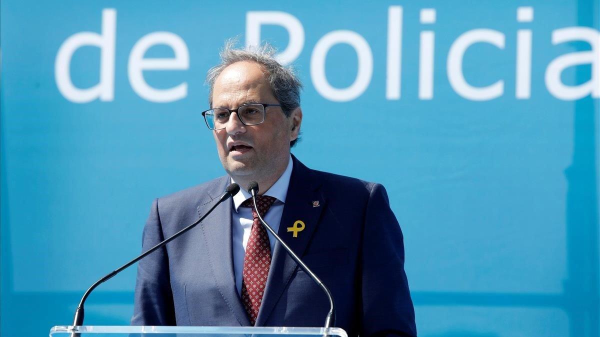 El president Torra en el acto de graduación de los nuevos agentes de los Mossos d'Esquadra.