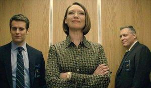 Jonathan Groff, Anna Torv y Holt McCallany, los investigadores que protagonizan 'Mindhunter'.