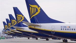 Aviones de Ryanair en el aeropuerto de Madrid.