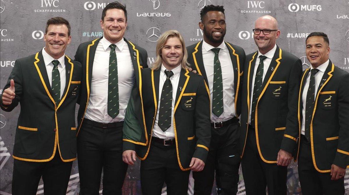 Miembros de la selección sudafricana de rugbi, que ganó el Mundial en Japón.