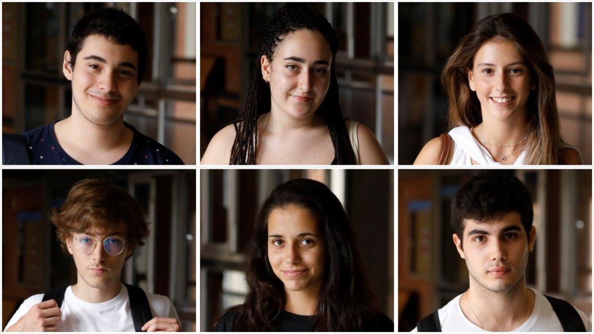 De izquierda a derecha y de arriba a abajo, Jordi Rodríguez, Paula García, Andrea Pérez, Joan Miralta. Helena Ruzo y Gerard Alcaide. Todos se han examinado este martes de castellano en la UB.