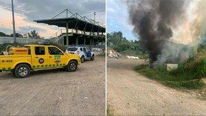 Imágenes del equipo de emergencias y uno de los incendios provocados en Hostalric
