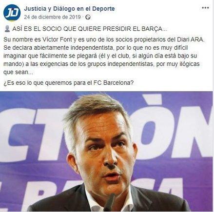 mensaje pagado por el FC Barcelona contra Víctor Font