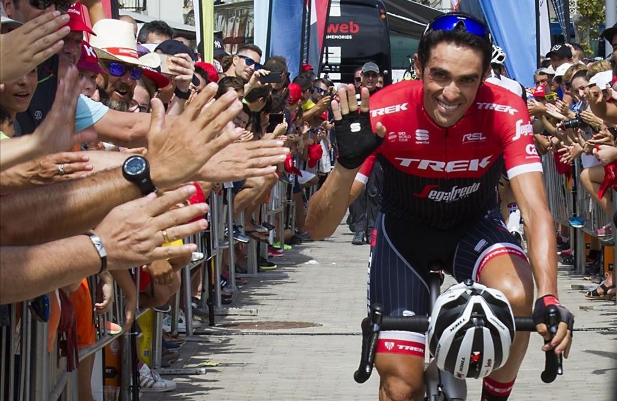 Alberto Contador, en la Vuelta de este año, en la que se retira del ciclismo profesional.
