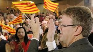El alcalde de Tortosa, Ferran Bel, durante el acto de JxCat en Tortosa.